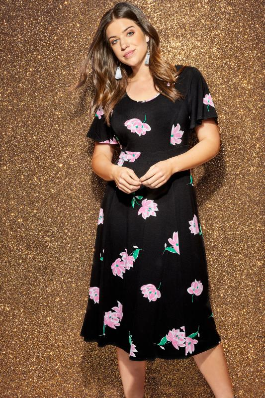 Plus Size Black Dresses Black & Pink Floral Midi Dress