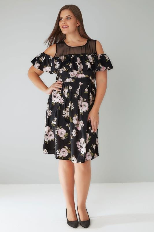 Black & Pink Floral Frill Cold Shoulder Dress With Contrast Mesh Panel