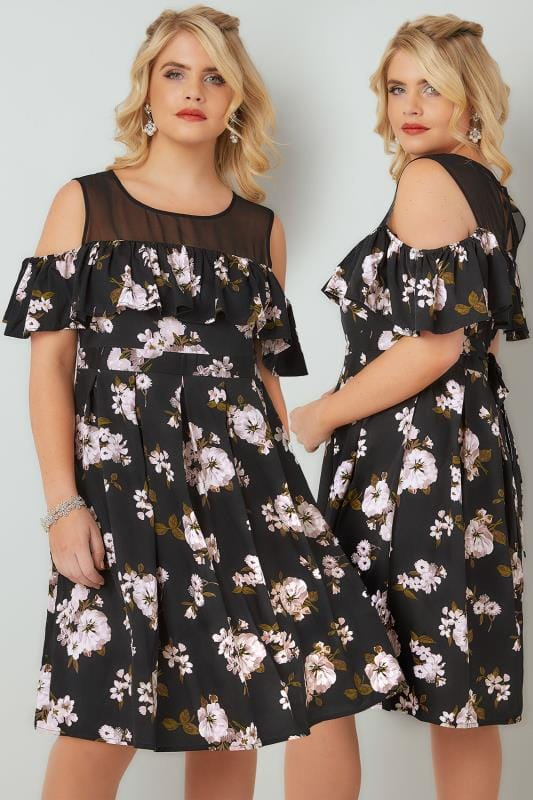 Grote maten Grote maten Party Jurken Black & Pink Floral Frill Cold Shoulder Dress With Contrast Mesh Panel