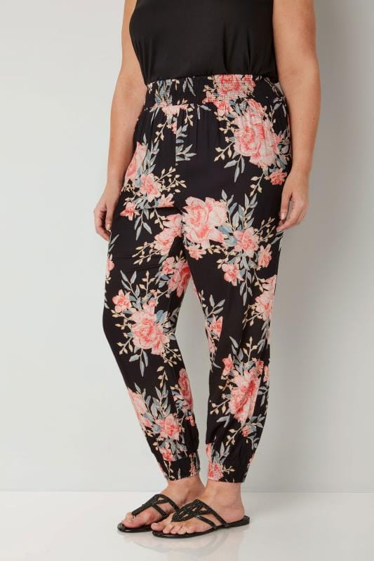 Plus Size Harem Trousers Black & Pink Floral Harem Trousers