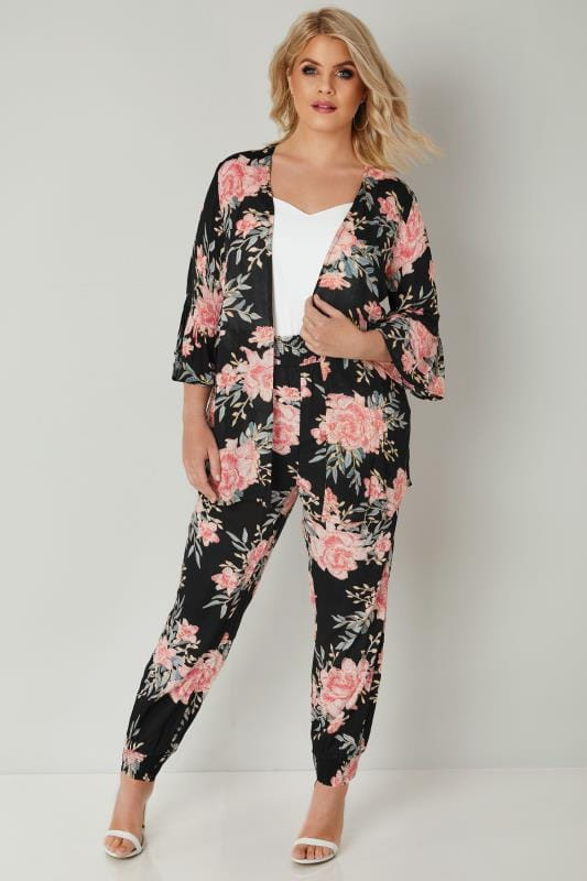 Black & Pink Floral Harem Trousers