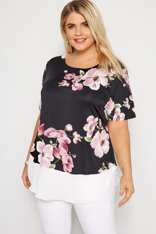 Black & Pink Floral Jersey Top