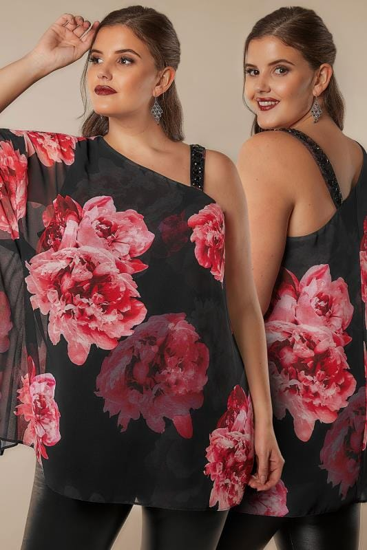 Blouses & Shirts Black & Pink Floral One Shoulder Top With Embellished Details 130200