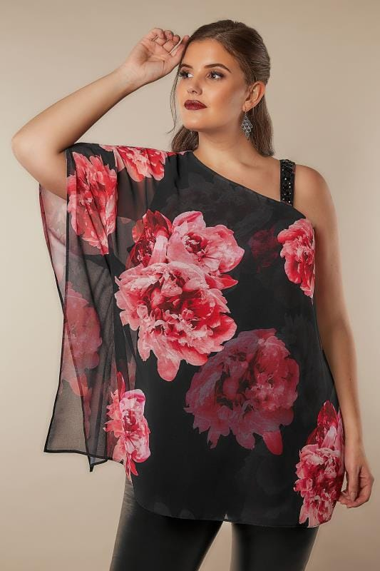 Plus Size Blouses & Shirts Black & Pink Floral One Shoulder Top With Embellished Details