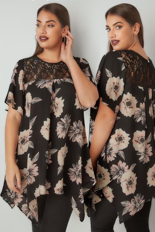 Blouses Black & Pink Floral Print Blouse With Lace Yoke 130254