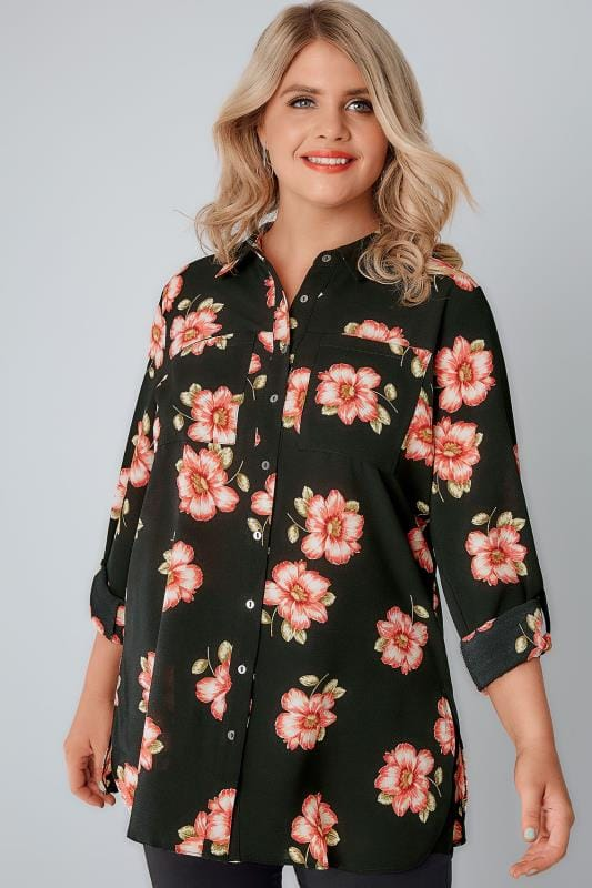 Black & Pink Floral Print Crepe Shirt With Chest Pockets