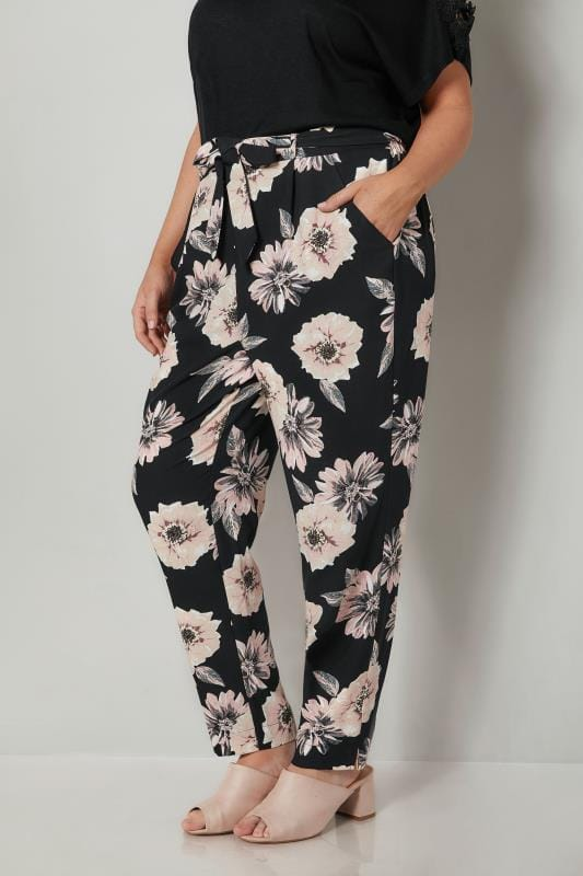 Plus Size Tapered & Slim Fit Trousers Black & Pink Floral Print Crepe Tapered Trousers With Tie Waist