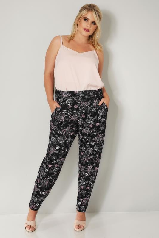 Black & Pink Floral Print Jersey Harem Trousers