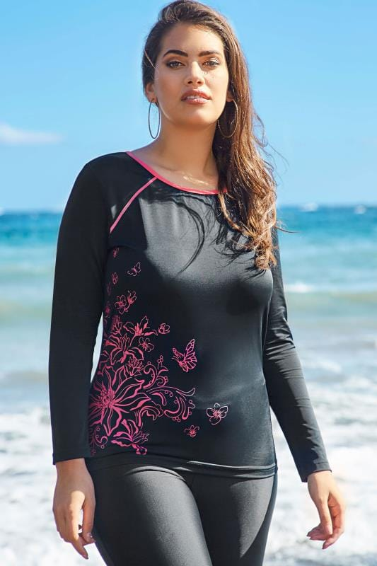 Black & Pink Floral Print Long Sleeve Swim Top
