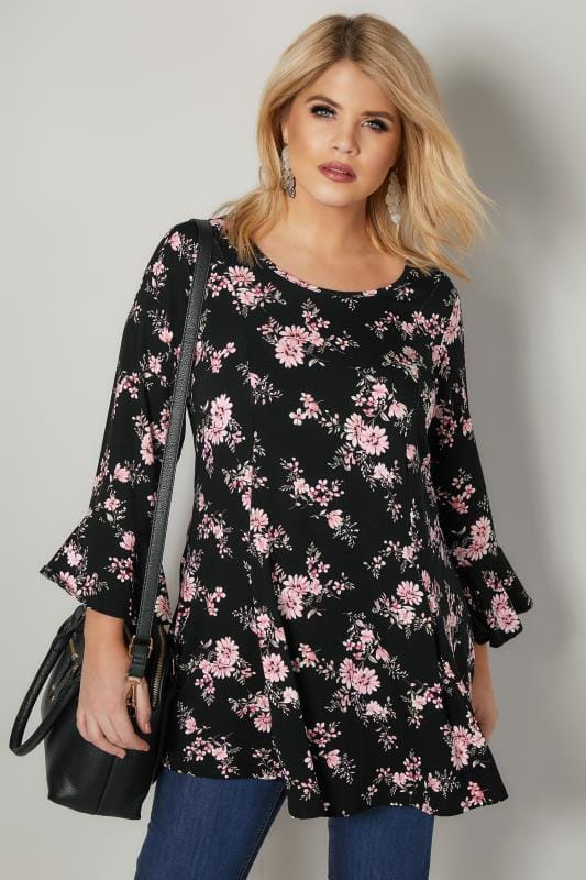 Plus Size Smart Jersey Tops Black & Pink Floral Print Longline Peplum Top With Flute Sleeves