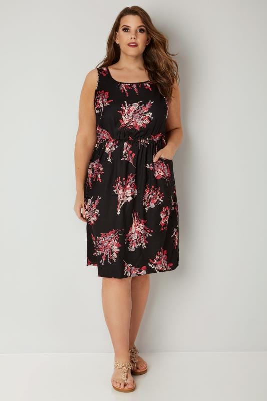 Black & Pink Floral Print Pocket Dress With Elasticated Waist