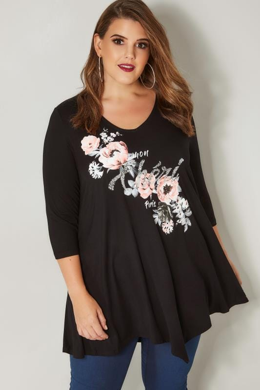 Plus Size Longline Tops Black & Pink Floral Print Sequin Embellished Longline Swing Top