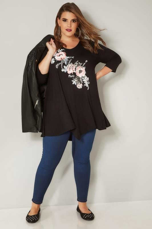 Black & Pink Floral Sequin Embellished Top