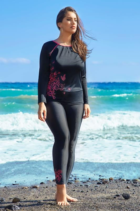 Black & Pink Floral Print Swim Leggings