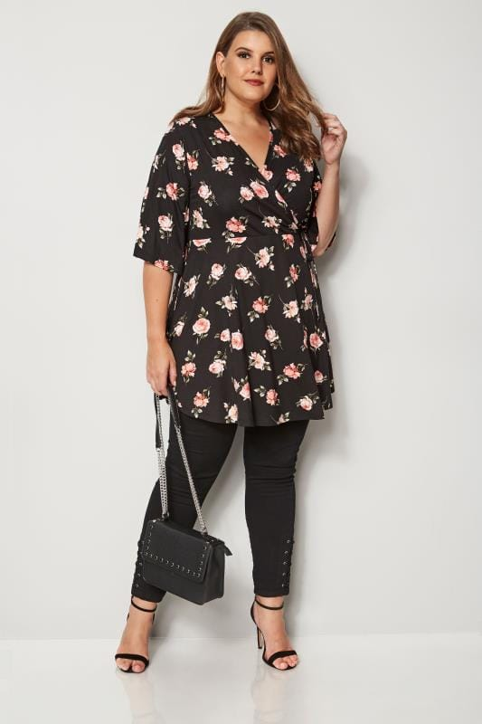 Black & Pink Floral Wrap Top
