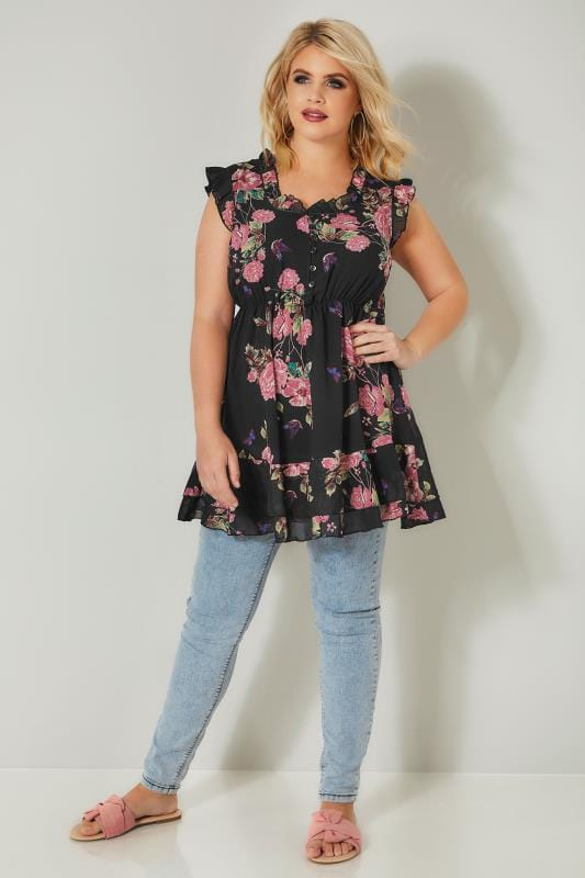 Black & Pink Floral Rose Print Top