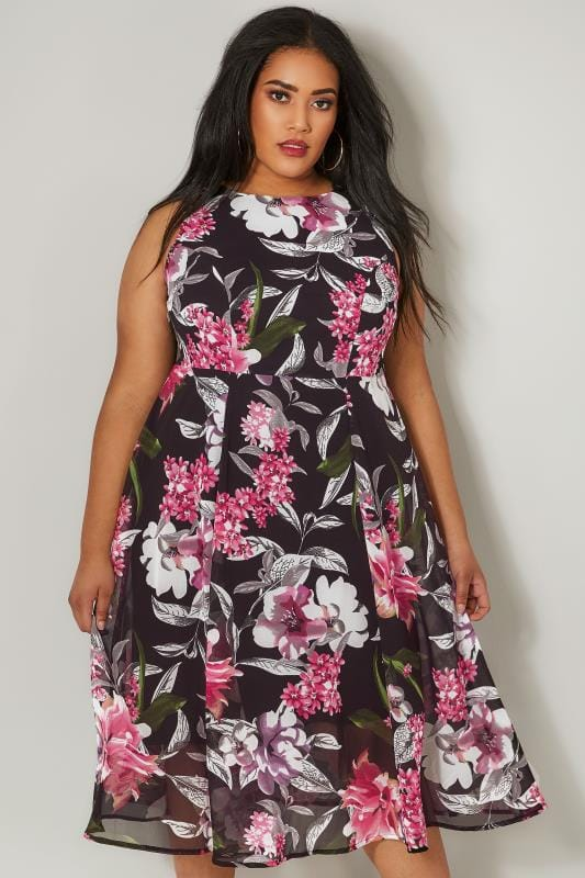 Plus Size Skater Dresses Black & Pink Floral Skater Dress