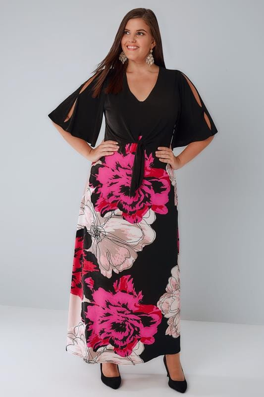 Black & Pink Floral Slinky Jersey Maxi Dress With Cold Shoulder