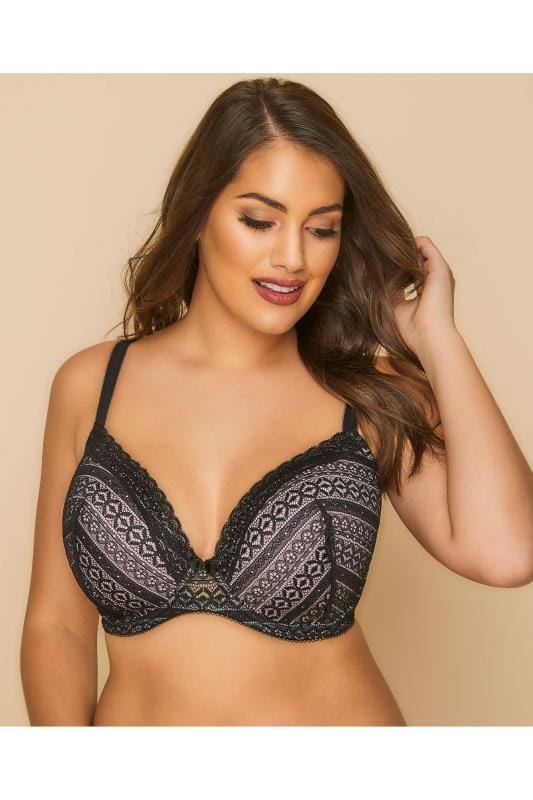 Plus Size Plus Size Wired Bras Black & Pink Geometric Lace Underwired Bra