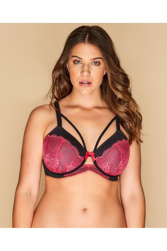 Plus Size Balcony Bras Black & Pink Lace Balcony Bra