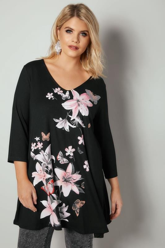Jersey Tops Black & Pink Lily Print Diamante Embellished Longline Swing Top 134313