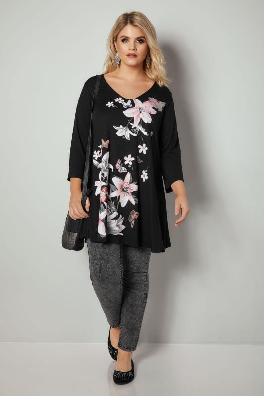 Black & Pink Lily Print Diamante Embellished Longline Swing Top