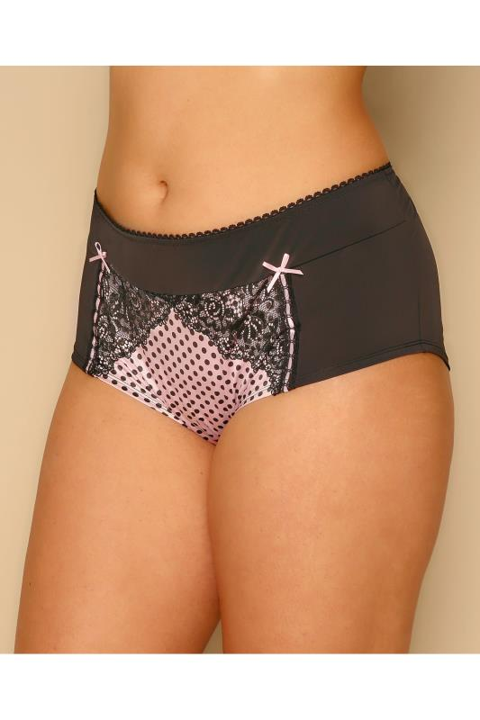 Black & Pink Polka Dot Brief With Lace Detail