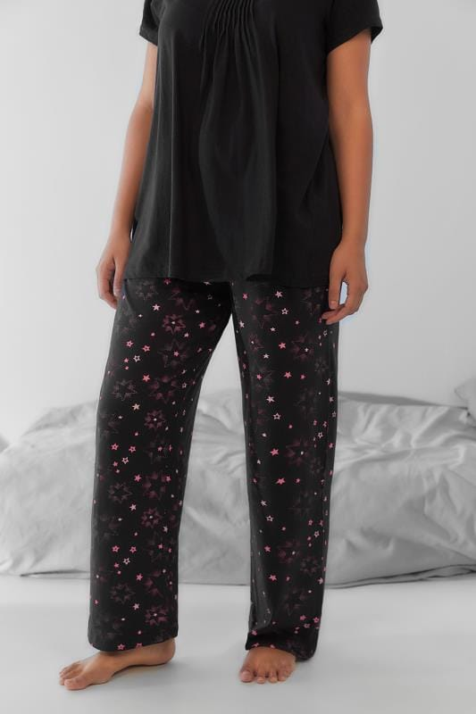 Plus Size Pyjamas Black & Pink Star Print Pyjama Bottoms