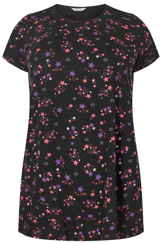 Black & Pink Star Print Pyjama Top