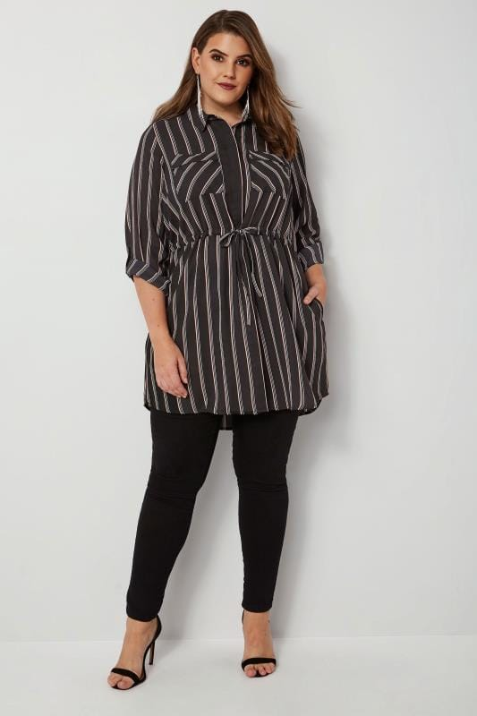 Black & Pink Striped Longline Shirt