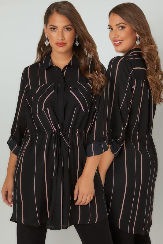Plus Size Blouses & Shirts Black & Pink Striped Longline Shirt With Belted Waist