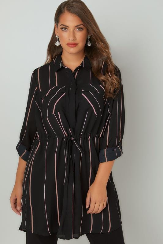 Black & Pink Striped Longline Shirt With Belted Waist