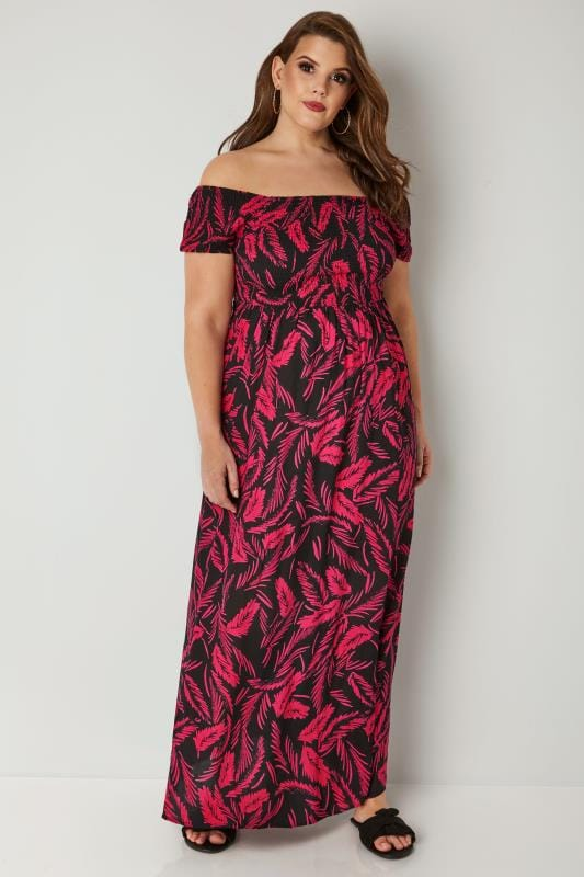 Black & Pink Tropical Leaf Print Shirred Maxi Dress