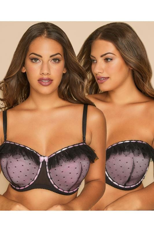 Plus Size Multiway & Strapless Bras Black & Pink Underwired Multiway Bra With Frill Detail And Removable Straps