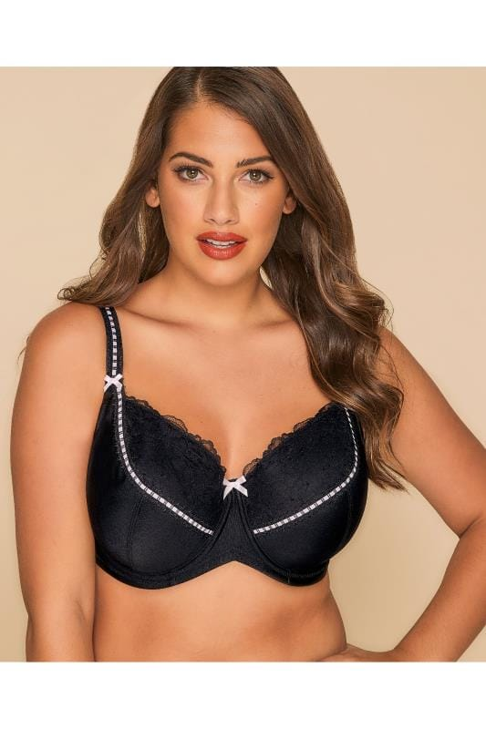 Plus Size Plus Size Padded Bras Black & Pink Underwired Soft Padded Bra