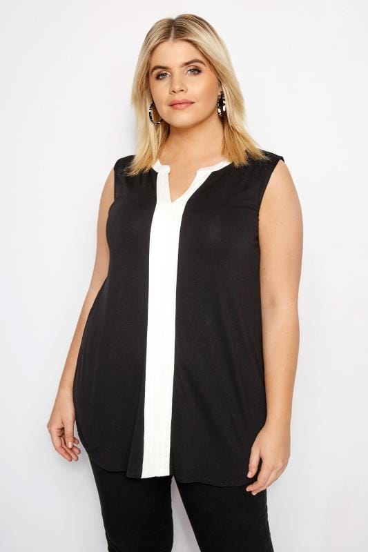 38f798460ee24 Plus Size Jersey Tops Black Pintuck Top