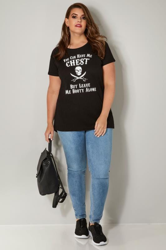 Black Pirate Slogan Print T-Shirt