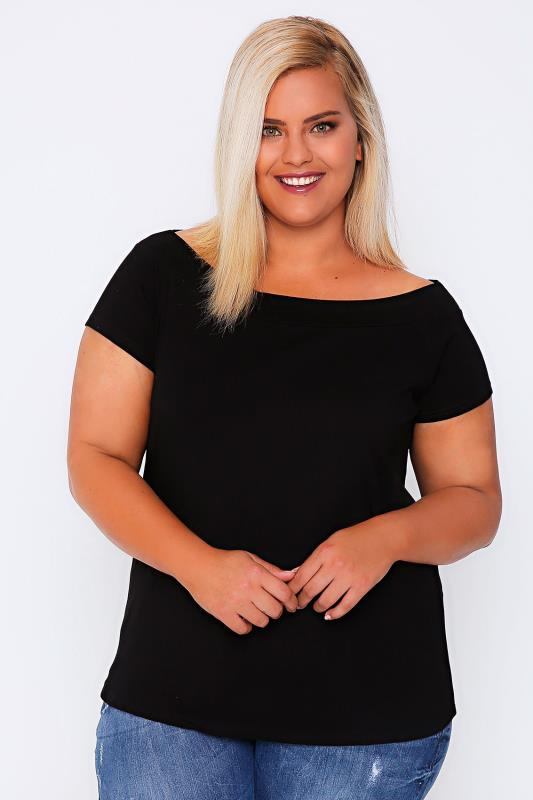 Black Plain Jersey Bardot Top With Short Sleeves