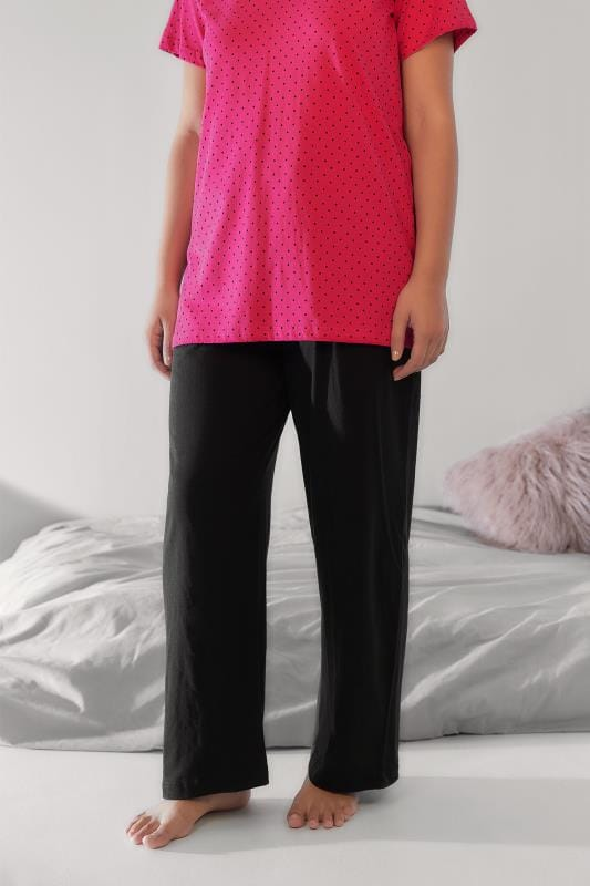 Pyjama Separates Black Plain Pyjama Bottoms 056793