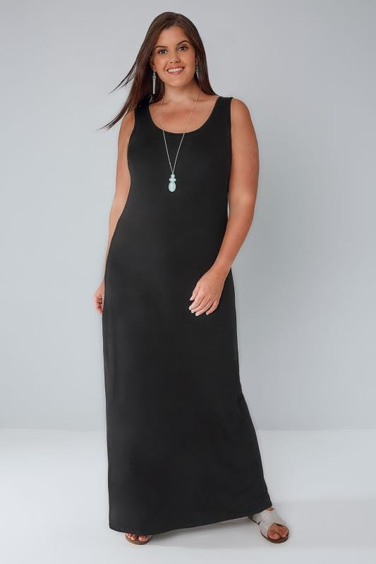 Black Plain Sleeveless Jersey Maxi Dress