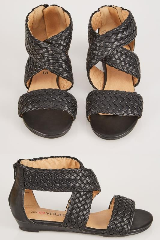 Black Plaited Gladiator Style Sandals In EEE Fit