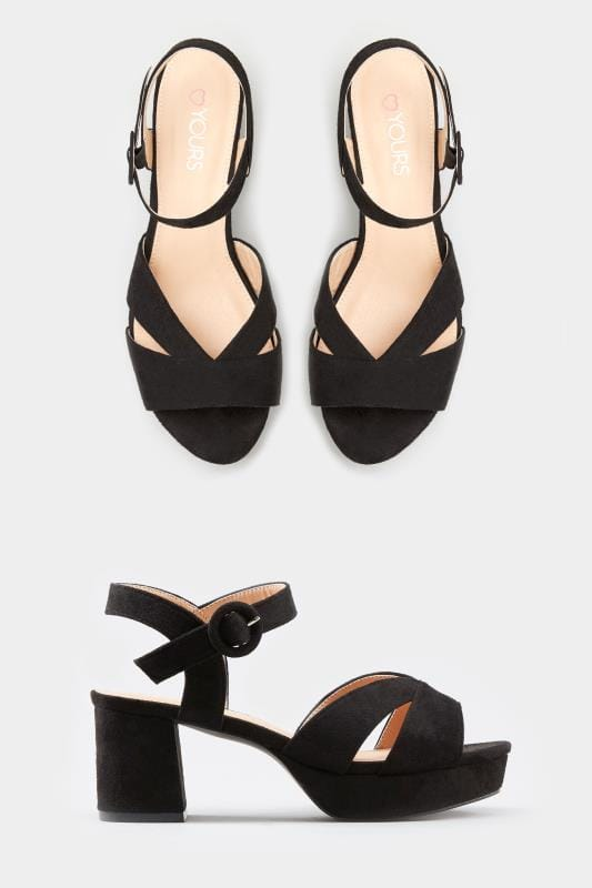 Plus Size Heels Black Platform Heeled Sandals