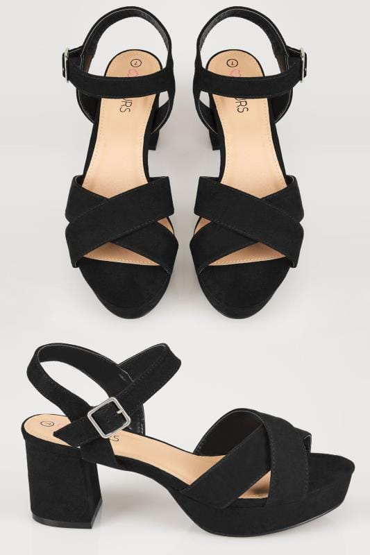 Wide Fit Heels Black Cross Front Heeled Platform Sandals In EEE Fit