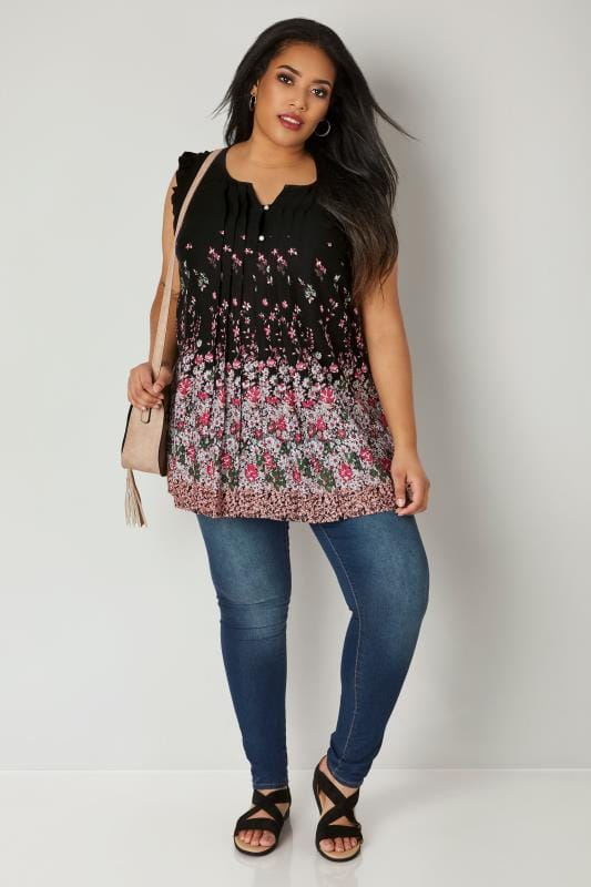 Black Floral Pintuck Blouse