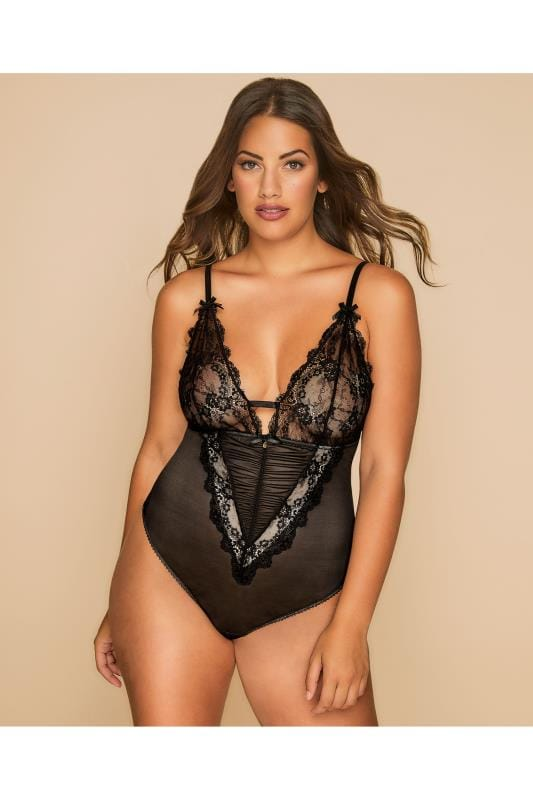 Plus Size Plus Size Babydolls Black Plunging Body With Lace Cups & Cut Out Back