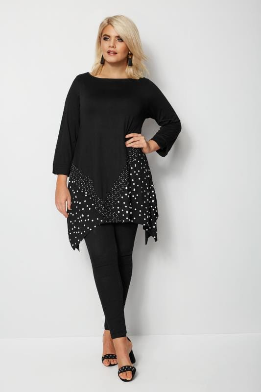 Plus Size Jersey Tops Black Polka Dot Colour Block Hanky Hem Top