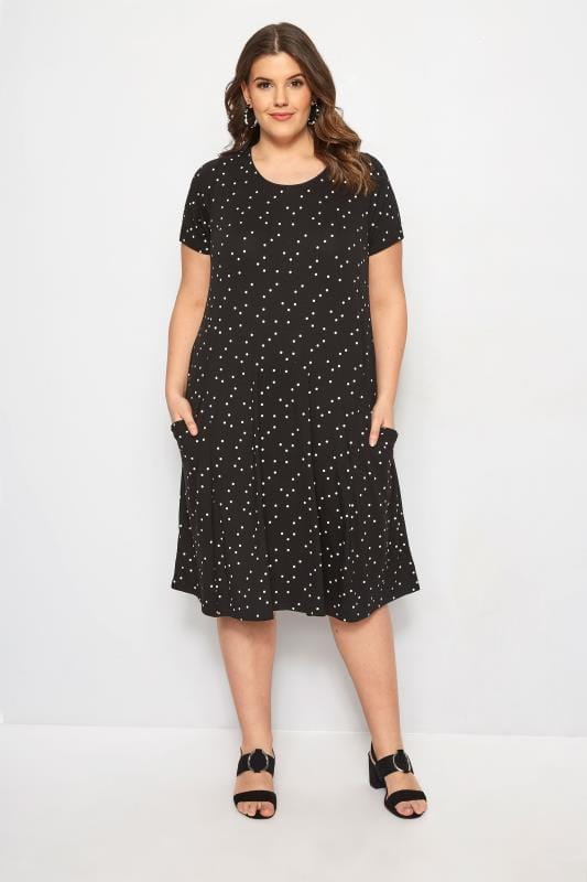 Plus Size Jersey Dresses Black Polka Dot Drape Pocket Dress
