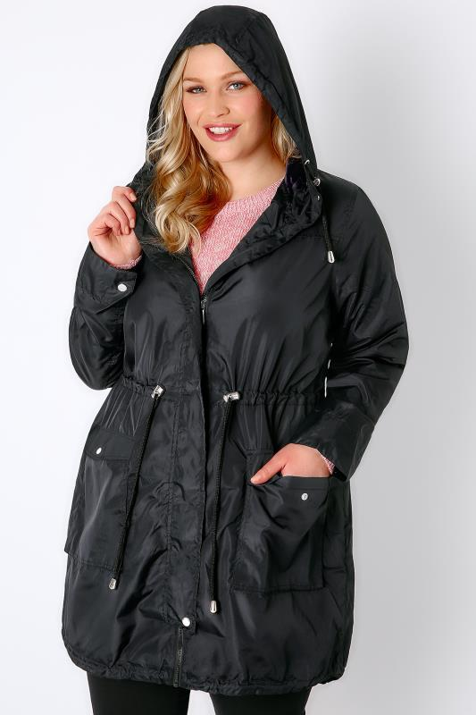 Black Poly Luxe Parka Jacket With Hood & Drawstring Waist
