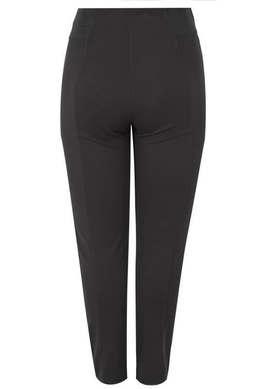 Black Ponte Trousers With Elasticated Panels