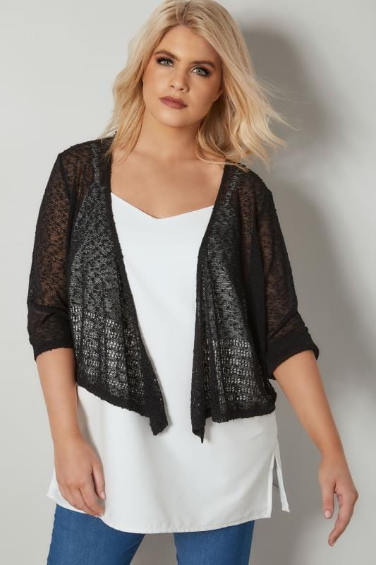 Black Popcorn Crochet Cropped Shrug